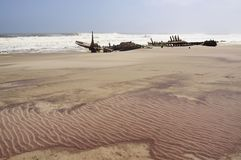 Ship wreck. At the shore of the skeleton coast park in Namibia Stock Photos