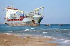 "Ship wreck. VALENCIA, SPAIN - OCTOBER 01: The container ship ""CELIA"" is aground on the El Saler Beach after the strong storm when the boat was anchored close Stock Image"