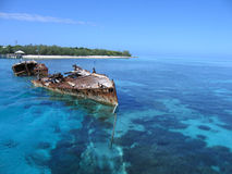 Ship wreck. In crystal clear waters of Heron Island Stock Images