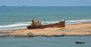 Ship wreck on Africa coast Stock Image