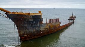 Ship wreck along the coast in Punta Arenas, Chile. Stock Photography