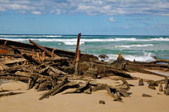 Ship Wreck of the beach of Fraser Island. A picture of the wreck of the ship the Maheno on Fraser Island in Queensland, Australia Stock Image