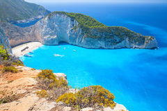 Ship Wreck beach and Navagio bay Stock Image