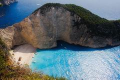 Ship wreck beach Zakynthos 2014 Royalty Free Stock Photo