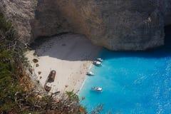 Ship wreck beach Zakynthos 2014 Royalty Free Stock Photos