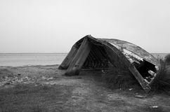 Ship Wreck in black and white. Ship Wreck with black and white tone stock image