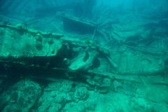 Ship wreck on botton sea. Carribean water. Underwater Grand Cayman island tour Royalty Free Stock Images