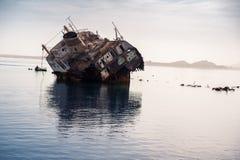 Ship wreck. Dirty old ship at sea Stock Photography