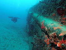 Ship wreck and diver Royalty Free Stock Photography