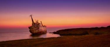Ship wreck EDRO III in Cyprus stock image