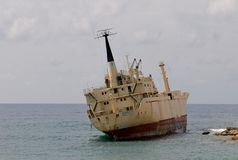 Ship wreck EDRO III in Cyprus. Ship wreck in Cyprus - The Edro III, the Sierra Leone flagged cargo ship, still remains stranded off the coast of Cyprus after royalty free stock images