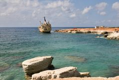Ship wreck EDRO III in Cyprus Royalty Free Stock Photography