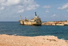 Ship wreck EDRO III in Cyprus Royalty Free Stock Photo