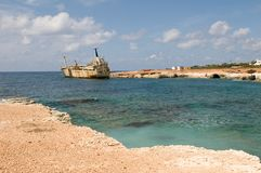 Ship wreck EDRO III in Cyprus Stock Images
