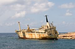 Ship wreck EDRO III in Cyprus under palms Royalty Free Stock Photos