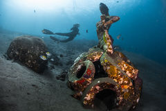 Ship wreck with free diver Stock Photo