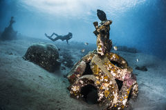 Ship wreck with free diver Royalty Free Stock Image