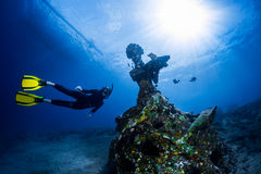 Ship wreck with free diver Royalty Free Stock Photography