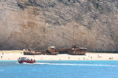 Ship wreck, greece 2. Greek coast, view from the sea Stock Photography