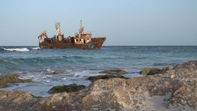 Ship wreck in Kelibia, Tunisia. A ship wreck in Kelibia, Tunisia stock video footage