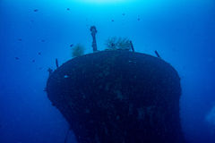 Ship Wreck in maldives. Ship Wreck underwater while diving royalty free stock photo
