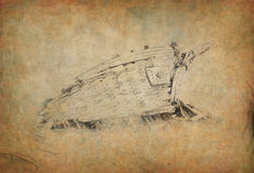 Ship wreck. Wreck of old wooden boat pencil drawn Stock Photography