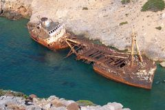 Ship wreck of Olympia in Amorgos Royalty Free Stock Photography