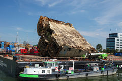 Ship wreck in the Port of Rotterdam, South Holland, The Netherla Royalty Free Stock Images
