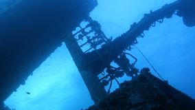 Ship wreck Salem Express. On seabed underwater in Red Sea, Egypt. Full HD underwater footage stock footage