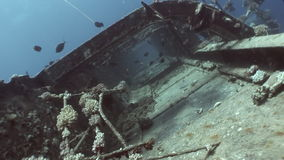 Ship wreck Salem Express underwater in the Red Sea in Egypt. stock footage