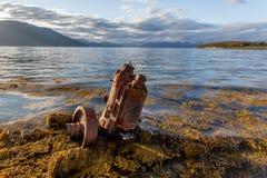 Ship wreck on sea bank Stock Photography