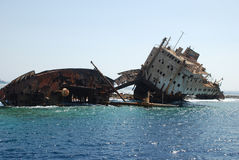Ship-wreck of ship in the red sea Royalty Free Stock Image