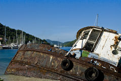 Ship wreck in Tortola Island. Location near Sopers Hole wharf and Marina. British Virgin Islands stock photography