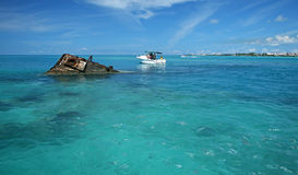 Ship Wreck in a Tropical Sea. One end of a ship wreck (the Vixen) coming out of a tropical Sea in Bermuda Stock Photo