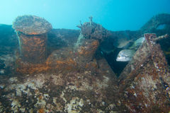 Ship Wreck. Underwater while diving royalty free stock photography