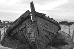 Ship Wreck In Black And White Monochrome Stock Photos