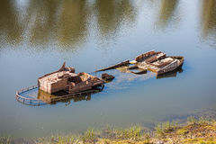 Ship wreck in a Volga river Royalty Free Stock Photo