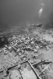 Ship wreckage on the ocean floor. Royalty Free Stock Images