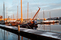Ship, yachts and boast on marina in Groningen Royalty Free Stock Photography