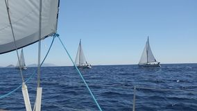 Ship yachts with white sails in the open sea. Sailing. Yachting. Tourism. Luxury Lifestyle. Boat in sailing regatta