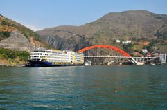 Ship on Yangtze Small Three Gorges At Wushan China Stock Photos