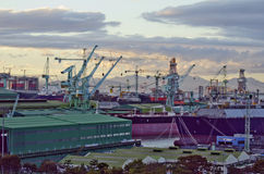 Ship Yard. A view of a busy ship building yard Stock Photo