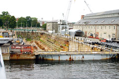 Shipyard Dry Dock in Boston Stock Image
