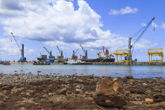 Ship yard with heavy crane Stock Photography