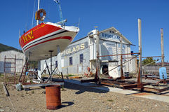Ship Yard & Yacht Being Repaired, Waikawa, New Zealand Royalty Free Stock Photos