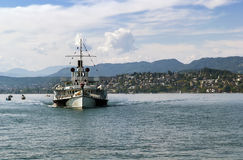 Ship on the Zurich Lake, Switzerland Stock Image