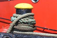 Shipboard bitt. With nylon rope Royalty Free Stock Photography