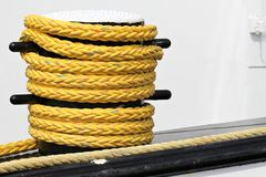Shipboard bitt. With nylon rope Royalty Free Stock Images