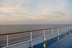 Shipboard on idyllic seascape on evening sky. Ship board in miami, usa in blue sea. Water travel, voyage, journey. Summer vacation. Wanderlust. Adventure Royalty Free Stock Photo