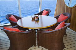 Shipboard lounge area. Luxurious seating on upscale cruise ship Royalty Free Stock Photography